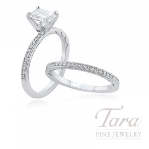 Tacori 18k White Gold Emerald Cut Diamond Wedding Set, 1.05CT Emerald Cut Diamond, .40TDW (Center Stone Sold Separately)