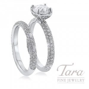 18K White Gold Pave Diamond Wedding Set, 1.03TDW (Center Stone Sold Separately)