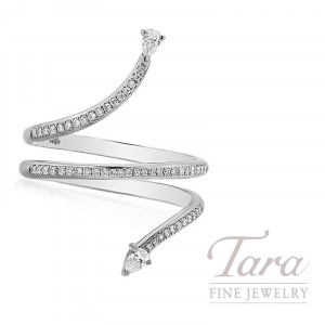 18k White Gold Pear-Shape Diamond Wrap Ring, 4.0G, .29TDW
