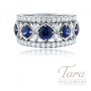 Jack Kelege 18K White Gold Diamond and Blue Sapphire Ring, 7 Blue Sapphire 1.72TGW, 56 Round Diamonds 1.20TDW