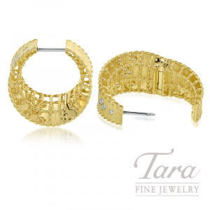 Roberto Coin 18k Yellow Gold Diamond Princess Hoop Earrings, 15.3G, .69TDW