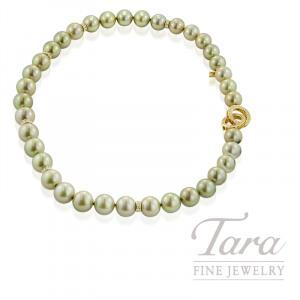 Mikimoto Custom Strand of 37 Rare Greenish South Sea Pearls with Diamond and Sapphire Clasp, Diamond Rondels