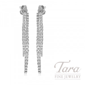 18k White Gold Diamond Dangle Earrings, 5.6G, 1.72TDW