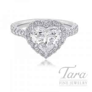 18K White Gold Heart-shape Diamond Halo Engagement Ring, 2.05CT Heart-shape Diamond, 5.3G, .81TDW (Center Stone Sold Separately)