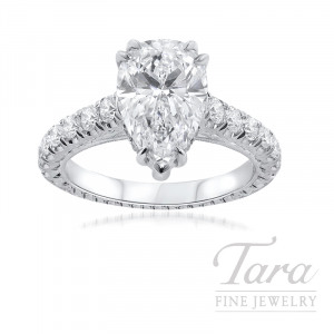 Jack Kelege Platinum Pear-shape Diamond Ring, 9.7G, .80TDW (Center Stone Sold Separately)