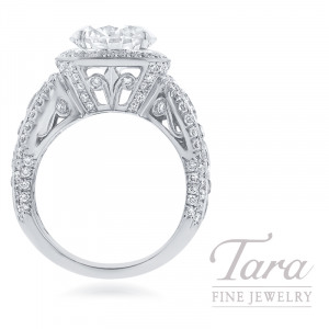 JB Star Platinum Diamond Ring, 3.25CT Round Brilliant Diamond, 3.52TDW (Center stone sold separately)