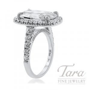 Henri Daussi 18k White Gold Halo Diamond Ring, 5.02CT Cushion, 1.25TDW