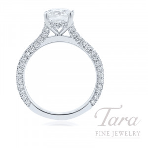 18K White Gold Pave Diamond Engagement Ring - Click for Available Sizes! (Center Stone Sold Separately)