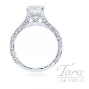 18K White Gold Pave Diamond Engagement Ring, 3.2G, .80TDW (Center Stone Sold Separately)