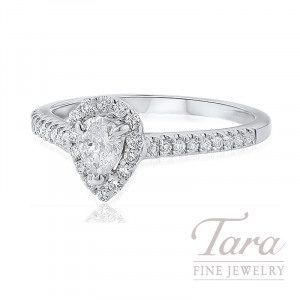 18K White Gold Pear-shape Diamond Halo Engagement Ring, 2.1G, .25TDW (Center Stone Sold Separately)