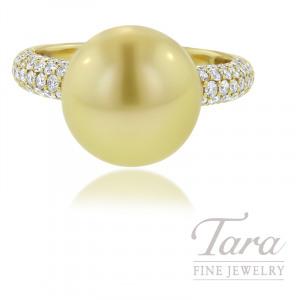 Mikimoto 18K Yellow Gold Pearl Ring, 11MM Golden South Sea Pearl, 110 Round Diamonds .66TDW