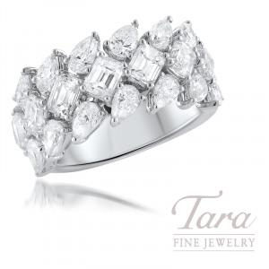 18K White Gold Diamond Band, 7 Emerald Cut Diamonds 2.18TDW, 14 Pear Shaped Diamonds 2.10TDW