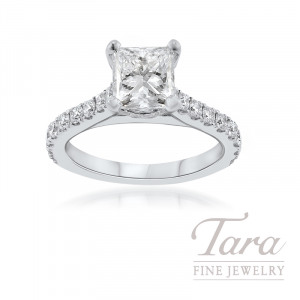 18K White Gold Princess Cut Diamond Engagement Ring, 5.0G, .48TDW (Center Stone Sold Separately)