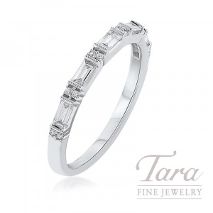 18K White Gold Baguette Diamond Band, 2.2G, .35TDW
