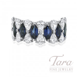 18K White Gold Diamond and Blue Sapphire Band, 14 Pear Shaped Diamonds 2.36TDW, 8 Marquise Blue Sapphire 2.26TGW