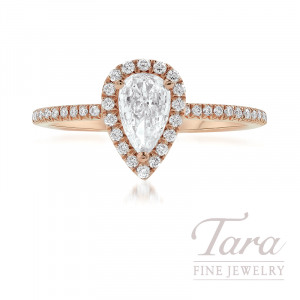 18K Rose Gold Pear-shape Diamond Halo Engagement Ring, 2.3G, .28TDW (Center Stone Sold Separately)