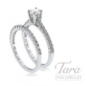 18k White Gold Diamond Wedding Set, .32CT Round Diamond, .40TDW