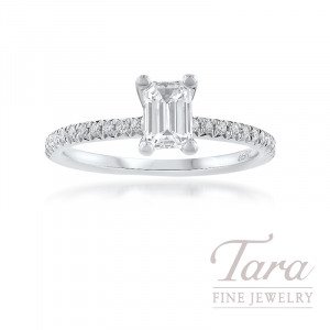 18K White Gold Emerald Cut Diamond Engagement Ring, 2.2G; 34 Round Diamonds, .20TDW; .51CT. Emerald Cut Diamond (Center Stone Sold Separately)