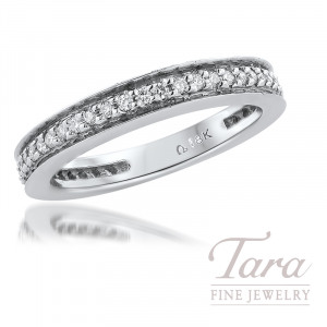 18K White Gold Diamond Channel Set Band; 38 Round Diamonds, 0.29TDW