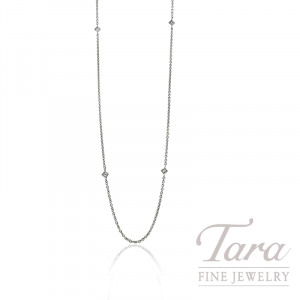 "18K White Gold Diamond Bezel Chain, 16/18"" Chain, 2.5G, .08TDW"