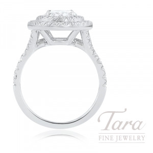 18K White Gold Oval-shape Diamond Double Halo Engagement Ring, 7.8G, .57TDW (Center Stone Sold Separately)
