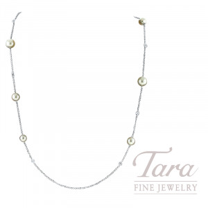 Mikimoto 18K White Gold Pearl and Diamond Necklace, 8 Pearls 5.5-7.5MM, 8 Round Diamonds 0.48TDW