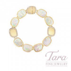 Roberto Coin 18k Yellow Gold Mother of Pearl and Diamond Bracelet, 27.7G, .64TDW