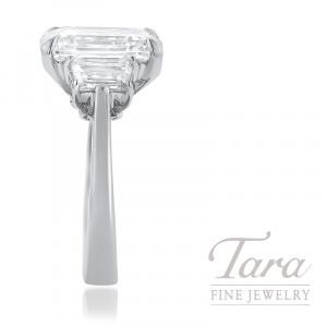5.27CT Emerald Cut Diamond J-VVS2 GIA Certified, Platinum Semi Mount 2 Trapezoid Diamonds 1.0TDW H-VS1 10.4G,