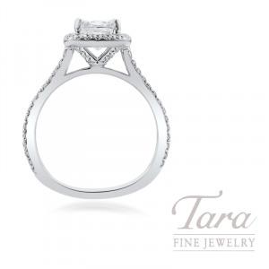 18k White Gold Cushion Diamond Halo Engagement Ring, 1.51CT Cushion Diamond, .36TDW (Center Stone Sold Separately)