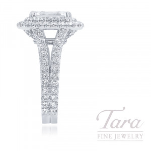 18k White Gold Double Halo Emerald Cut Diamond Ring, 2.01CT Emerald Cut Diamond, 8.8G, 1.71TDW (Center Stone Sold Separately)