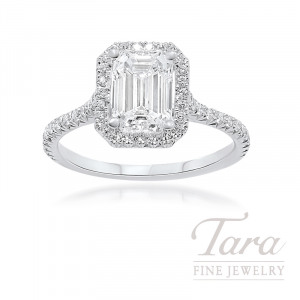 18K White Gold Emerald Cut Diamond Halo Engagement Ring, 1.50CT Emerald Cut Diamond, 2.9G, .32TDW (Center Stone Sold Separately)