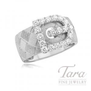 18k White Gold Diamond Buckle Fashion Ring, 7.1G, .73TDW