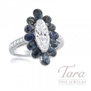 Platinum Oval Diamond Ring with 12 Round Diamonds and 12 Round Blue-Gray Spinel; Oval 1.40CT/D-SI1, 12 Round Diamonds 0.25TDW and 12 Blue-Gray Spinel 0.93tgw