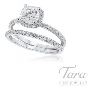 18k White Gold Diamond Halo Wedding Set, .34TDW (Center Stone Sold Separately)