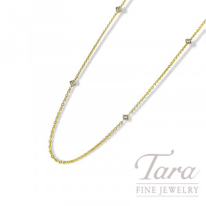 "18K Yellow Gold Diamond Bezel Chain, 16/18"" Chain, 2.5G, .08TDW"