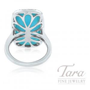 18K White Gold White Topaz, Turquoise, and Diamond Fashion Ring, 10.1G, .34TDW