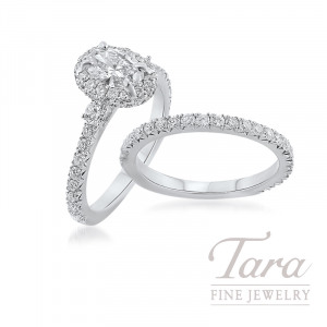 18k White Gold Oval-shape Diamond Wedding Set, 1.34TDW (Center Stone Sold Separately)