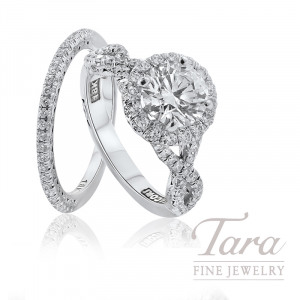 Tacori 18K White Gold Diamond Halo Wedding Set, 1.70TDW (Center Stone Sold Separately)