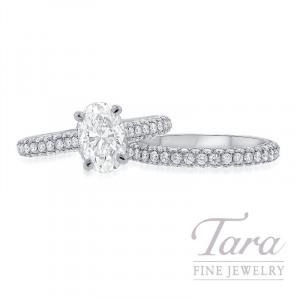 18k White Gold Cushion Cut Pave Diamond Wedding Set, 1.31CT Cushion Cut Diamond, .92TDW (Center Stone Sold Separately)