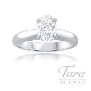 Forevermark 18K White Gold Oval Diamond Solitaire Engagement Ring 1.01CT, H-SI1