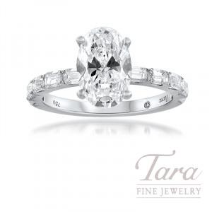 18K White Gold Emerald Cut Semi Mount Diamond Engagement Ring; 10 Emerald Cut Diamonds, 0.81TDW (Center Stone Sold Separately)