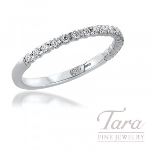 18K White Gold Diamond Band 18 Round Diamonds 0.25TDW