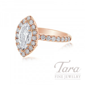 18K Rose Gold Marquise Diamond Halo Engagement Ring, 1.16CT Marquise Diamond, .69TDW (Center Stone Sold Separately)