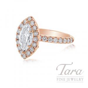 18K Rose Gold Marquise Diamond Halo Engagement Ring, 1.16CT Marquise Diamond, .69TDW (Center Stone Sold Separately)
