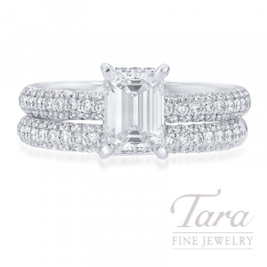 18K White Gold Emerald Cut Pave Diamond Wedding Set, 1.01CT Emerald Cut Diamond, 5.4G, .67TDW (Center Stone Sold Separately)