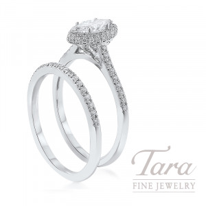 18K White Gold Marquise Diamond Halo Wedding Set, .48CT Marquise Diamond, .35TDW (Center Stone Sold Separately)