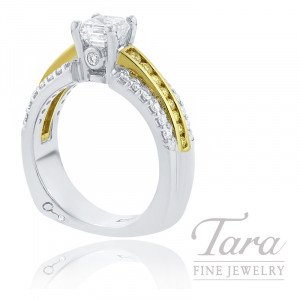 A. Jaffe 18k Yellow Gold and White Gold Asscher Cut Diamond and Fancy Yellow Diamond Engagement Ring, 1.00CT Asscher Cut Diamond, .70TDW (Center Stone Sold Separately)