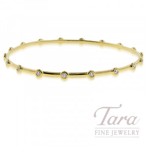 18K Yellow Gold Diamond Bangle, 10G, .56TDW