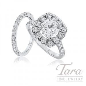 18k White Gold Diamond Halo Wedding Set - Click for Available Sizes! (Center Stone Sold Separately)