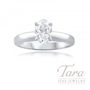 Forevermark 18K White Gold Oval Diamond Solitaire Engagement Ring 1.00CT, F-VS1